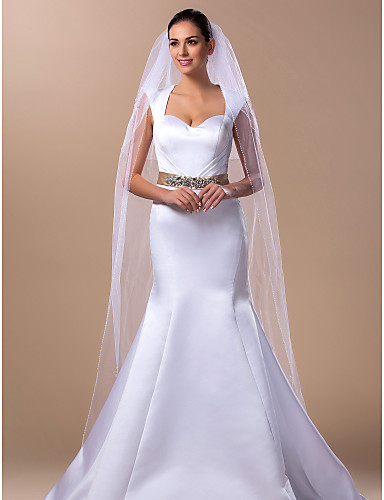 Two-tier Wedding Veil Cathedral Veils 53 98.43 in (250cm) Tulle A-line, Ball Gown, Princess, Sheath/ Column, Trumpet/ Mermaid
