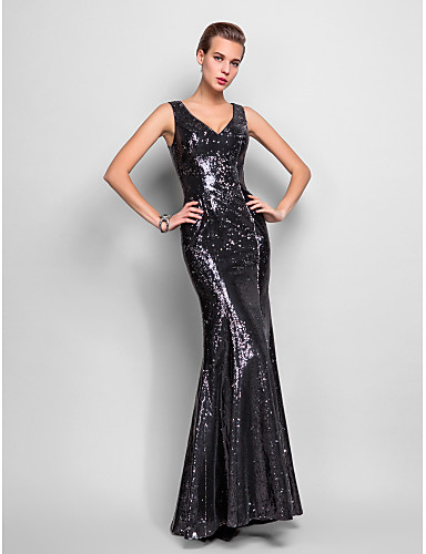 Mermaid / Trumpet V-neck Floor Length Sequined Formal Evening Military Ball Dress with Pleats Sequins by TS Couture®