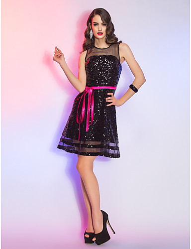 A-Linie Illusionsausschnitt Kurz / Mini Organza Pailletten Cocktailparty / Festtage Kleid mit durch TS Couture®