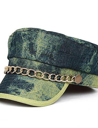 Oyear Navy Style Metal Chain Denim Olive Flat Cap