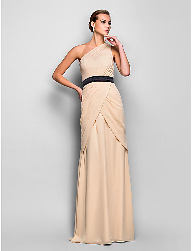 Eng anliegend Ein-Schulter Boden-Länge Chiffon Offener Rücken Formeller Abend Kleid mit Seitlich drapiert / Überkreuzte Rüschen durch TS Couture®