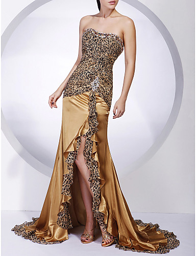 Mermaid / Trumpet Strapless Sweep / Brush Train Chiffon Charmeuse Evening Dress with Beading by TS Couture®