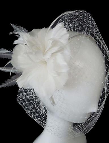 One-tier Vjenčani velovi Rumenilo Burke / Vjeverica kose S Cvijet od satena Til Retka, Ball haljina, princeza, Plašt / stupac, Truba /