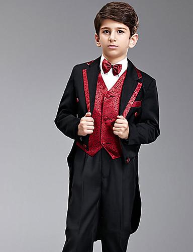 Amestec poliester/bumbac Costum Cavaler Inele - 7 Bucăți Include Jacketă Pantaloni Vestă Brâu Papion Bigudiuri Cămașă