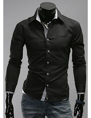 Camicia Uomo Casual A quadri Poliestere Manica lunga Nero   Blu   Rosso    Bianco f3e6926bfde