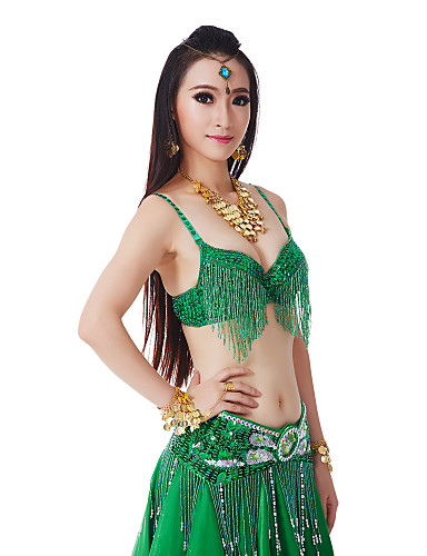 Belly Dance Tops Women's Performance Polyester Sequin Tassel Natural Top