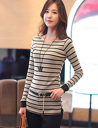 ShiBeiNi femei simplu guler rotund Stripes Slim T Shirt (kaki, alb)