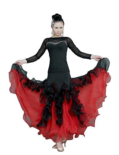 Ballroom Dance Dresses Women's Training Tulle Long Sleeve Natural