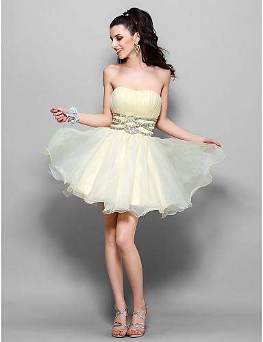 A-Line Princess Fit & Flare Strapless Sweetheart Short / Mini Tulle Cocktail Party Homecoming Holiday Sweet 16 Dress with Beading Sequin