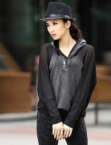 Meili European Fashion Loose mytí vodou Cowboy T-Shirt (Black)