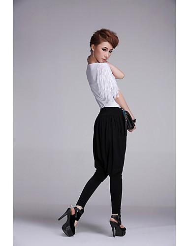 Meili Fashion Leisure Chiffon Stretch Haroun Pants (Sort)