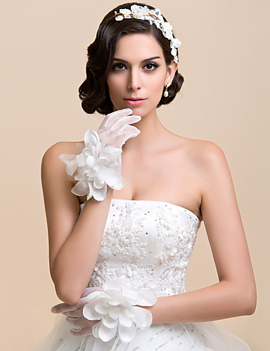 Net Wrist Length Glove Bridal Gloves Party/ Evening Gloves With Floral