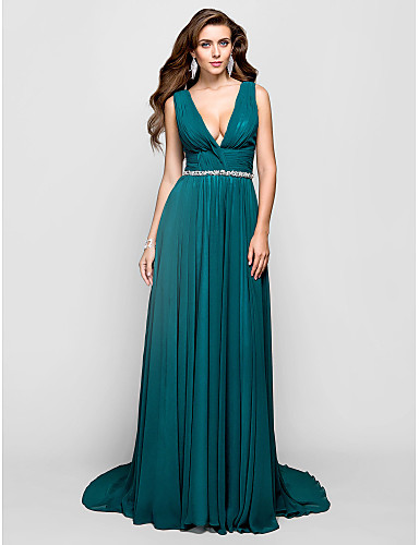 A-Line V Neck Sweep / Brush Train Chiffon Formal Evening / Military Ball Dress with Crystal Detailing Ruched by TS Couture®