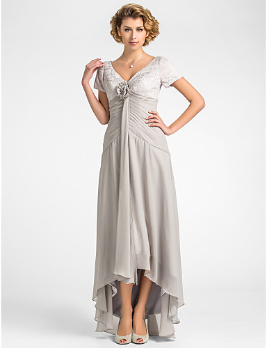 A Line V Neck Asymmetrical Chiffon Lace Mother Of The Bride Dress With Flower