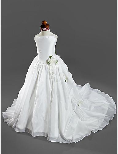 Βραδινή τουαλέτα Ουρά μέτριου μήκους Φόρεμα για Κοριτσάκι Λουλουδιών - Σατέν / Ταφτάς Αμάνικο Λεπτές Τιράντες με Διακοσμητικά Επιράμματα με LAN TING BRIDE® / Άνοιξη / Καλοκαίρι / Φθινόπωρο / Χειμώνας