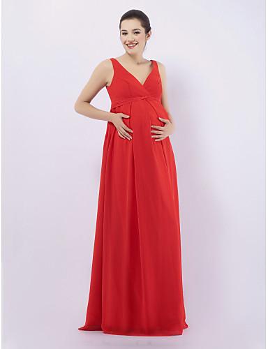 Ίσια Γραμμή Λαιμόκοψη V / Λουριά Μακρύ Σιφόν Φόρεμα Παρανύμφων με Που καλύπτει με LAN TING BRIDE®