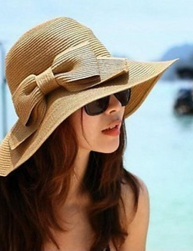 cheap Women's Hats-Women's Vintage Hat-Solid Color / Straw Hat / Summer / Hat & Cap / Sun Hat