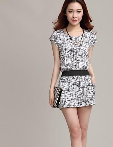 abordables Robes Femme-Femme Travail Au dessus du genou Robe Géométrique Eté Blanc Noir Coton Manches Courtes