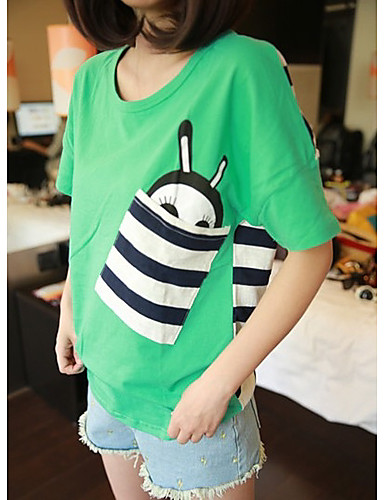 Women's Daily Casual Street chic Spring Summer T-shirt,Print Round Neck Short Sleeves Others Medium