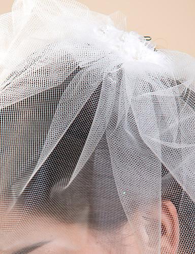 Bryllupsslør En-lags Rouge Slør Skær Kant 10-20cm Tyl Hvid Elfenben A-linje, Balkjole, Prinsesse, Kappe / Række, Trumpet / Havfrue