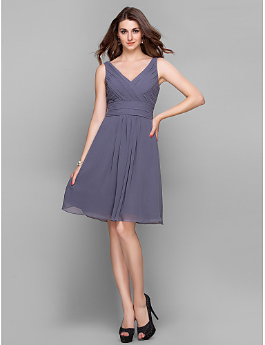 Sheath / Column V-neck Knee Length Chiffon Bridesmaid Dress with Criss Cross Ruching by LAN TING BRIDE®