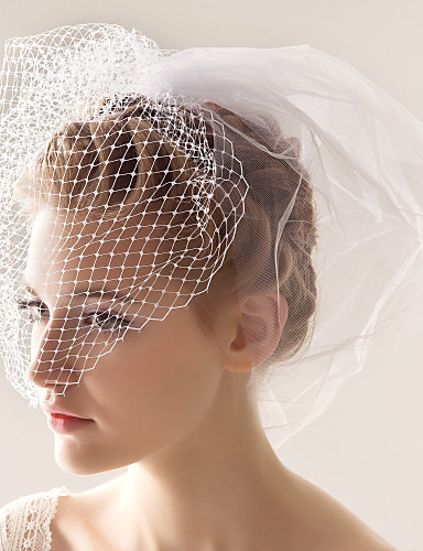 Wedding Veil Two-tier Blusher Veils 10-20cm Tulle White A-line, Ball Gown, Princess, Sheath/ Column, Trumpet/ Mermaid