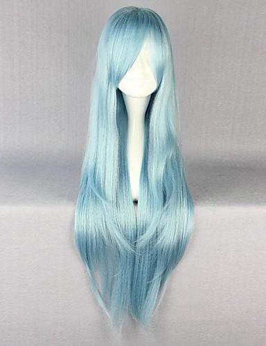 voordelige Cosplay & Kostuums-SAO Alicization Asuna Yuuki Cosplaypruiken Dames 34 inch(es) Hittebestendige vezel Blauw Anime