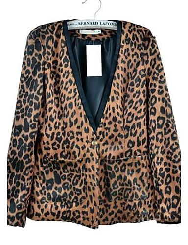 68682c53 kvinners skulderputer semsket jakke fløyel liten leopard dressjakke ...