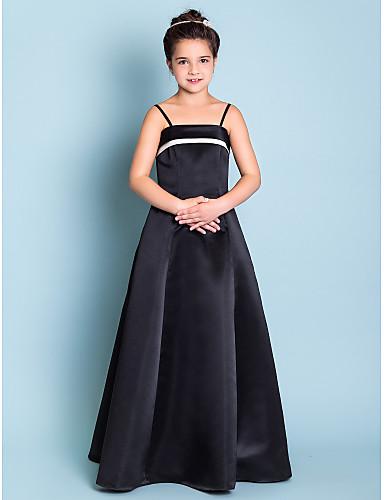 60392eabc Corte en A Princesa Tirantes Spaghetti Hasta el Suelo Satén Vestido de Dama  de honor junior
