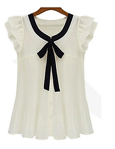 billige Topper til damer-Store størrelser Skjorte Dame - Lapper Hvit / Sommer / Drapering