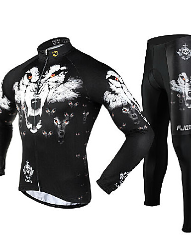cheap Cycling Clothing-FJQXZ Men's Long Sleeve Cycling Jersey with Tights - White Bike Clothing Suit Thermal / Warm Windproof Breathable 3D Pad Quick Dry Sports Mesh Wolf Mountain Bike MTB Road Bike Cycling Clothing Apparel