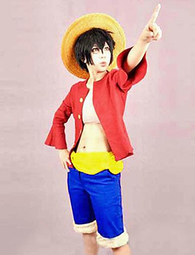 povoljno Anime kostimi-Inspirirana One Piece Monkey D. Luffy Anime Cosplay nošnje Japanski Cosplay Suits Kolaž Top / Pojas / Kratke hlače Za Muškarci / Žene