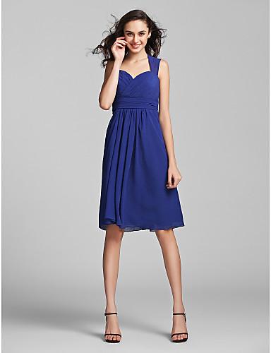 Ίσια Γραμμή Καρδιά Μέχρι το γόνατο Σιφόν Φόρεμα Παρανύμφων με Που καλύπτει Πιασίματα Χιαστί με LAN TING BRIDE®