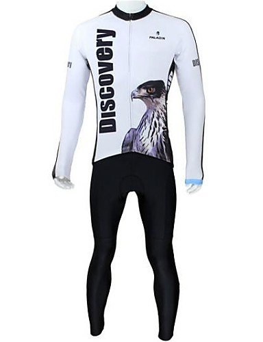 cheap Cycling Clothing-ILPALADINO Men's Long Sleeve Cycling Jersey with Tights - White Eagle Bike Clothing Suit Thermal / Warm Fleece Lining Breathable Quick Dry Sports Fleece Eagle Mountain Bike MTB Road Bike Cycling