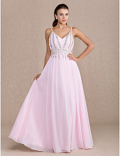 Sheath / Column V Neck Floor Length Chiffon Prom Dress with Crystal Detailing Draping Side Draping by TS Couture®