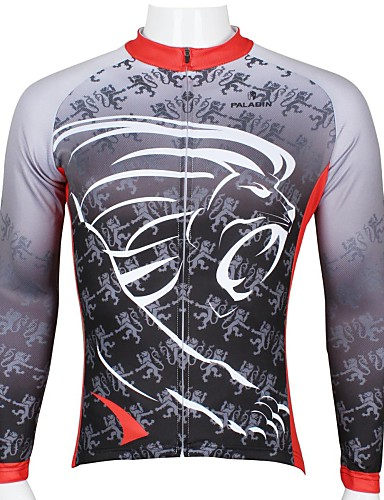 cheap Cycling Clothing-ILPALADINO Men's Long Sleeve Cycling Jersey Gray Lion Bike Top Breathable Quick Dry Ultraviolet Resistant Sports 100% Polyester Mountain Bike MTB Road Bike Cycling Clothing Apparel