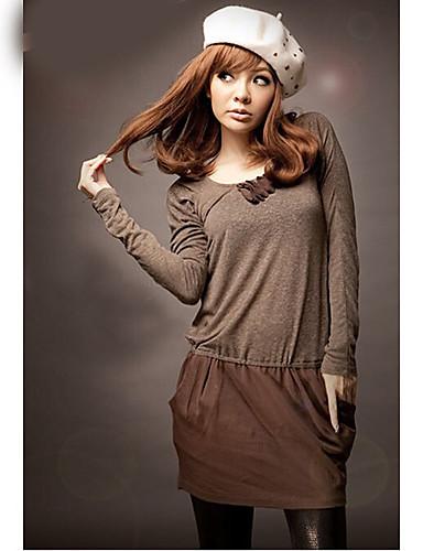 круглый сторона воротник карманы одежды коричневый