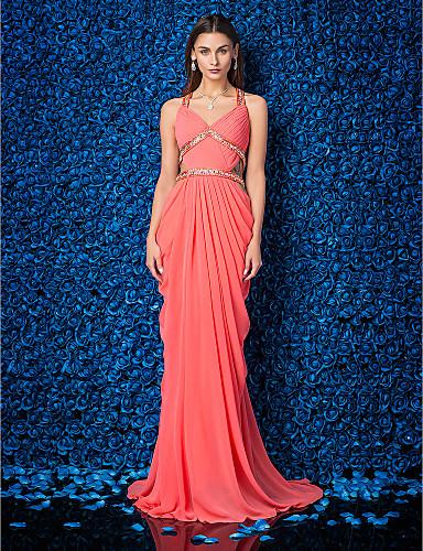 Eng anliegend V-Ausschnitt Pinsel Schleppe Georgette Formeller Abend Kleid mit Perlenstickerei Überkreuzte Rüschen Seitlich drapiert durch
