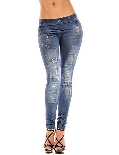 Damen Denim Grundlegend Legging Mittlere Taillenlinie