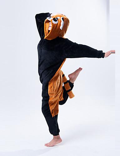 billige Kigurumi-Voksne Kigurumi-pysjamas Vaskebjørn Bjørn Onesie-pysjamas Polar Fleece Oransje Cosplay Til Damer og Herrer Pysjamas med dyremotiv Tegnefilm Festival / høytid kostymer