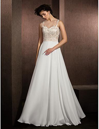 A-Linie Illusion Neckline Na zem Krajka Saténový šifon Svatební šaty s Aplikace podle LAN TING BRIDE®
