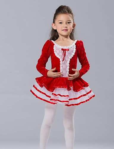 preiswerte Ballettbekleidung-Tanzkleidung für Kinder / Ballett Kleider & Röcke / Balletröckchen / Oberteile Elasthan / Chiffon / Tüll Langarm / Aufführung