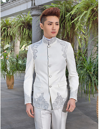 Tuxedos Slim Fit Mandarin Collar Single Breasted More-Button Polyester Pattern