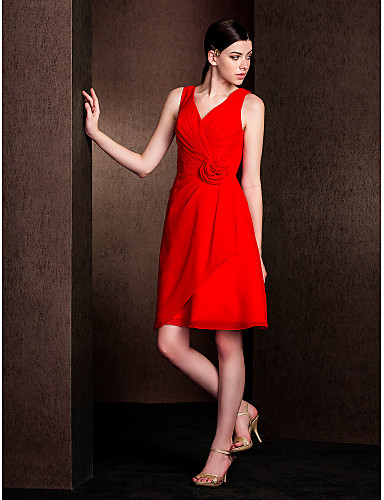 A-Line V Neck Knee Length Chiffon Bridesmaid Dress with Flower Criss Cross by LAN TING BRIDE®