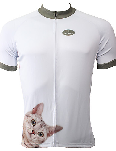 cheap Cycling Clothing-ILPALADINO Men's Short Sleeve Cycling Jersey - White Cat Bike Jersey Top Breathable Quick Dry Ultraviolet Resistant Sports Polyester 100% Polyester Terylene Mountain Bike MTB Road Bike Cycling