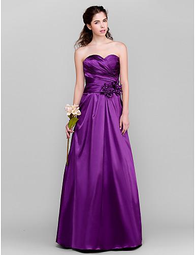 A-Line Sweetheart Neckline Floor Length Taffeta Bridesmaid Dress with Criss Cross / Flower by LAN TING BRIDE®