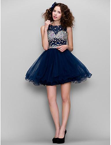 A-Şekilli / Belden Oturan Yüksek Yaka Kısa / Mini Tül Boncuklama ile Mezunlar Günü / Balo Elbise tarafından TS Couture®