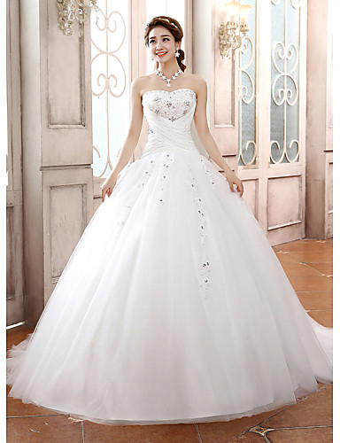 Ball Gown Strapless Court Train Tulle Made-To-Measure Wedding Dresses with Beading / Appliques / Criss-Cross by / Sparkle & Shine