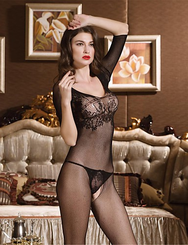 62a6c320b Women s Plus Size Gartered Lingerie   Lace Lingerie   Ultra Sexy Nightwear  - Mesh Solid Colored   Teddy