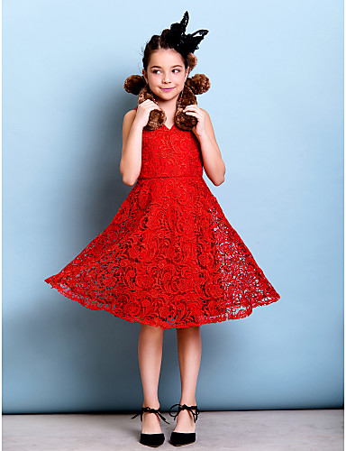 A-Line V-neck Knee Length Lace Junior Bridesmaid Dress with Lace Pleats by LAN TING BRIDE®